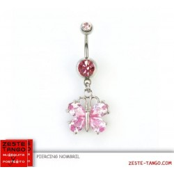Piercing nombril, pendant. Charm papillon cristal couleur