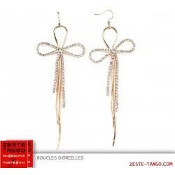 Boucles d'oreille fil métal et strass, noeud doré