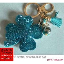 Bijou de sac - Sujet Trèfle strass vert / bleu