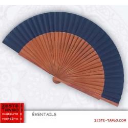 Éventail bois rare: bubinga. 23 cm - Marron / Bleu Marine