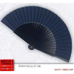 Déstockage- Éventail homme, Grand Panache. Bleu Marine. 27 cm