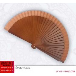 Éventail basique, 19 cm - marron tabac, bois