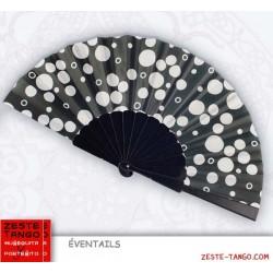 Éventail décor bulles. Noir / blanc. 23 cm