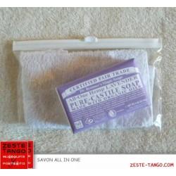 Pack savon bio all-one Dr Bronner, LAVANDE + mini-serviette