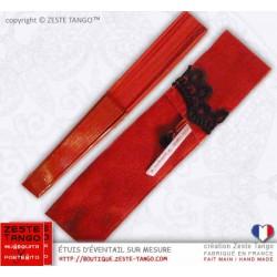 Étui d'éventail flamenco, rouge, galon noir- Création Z.T