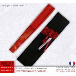 Étui d'éventail flamenco, noir, galon rouge- Création Z.T