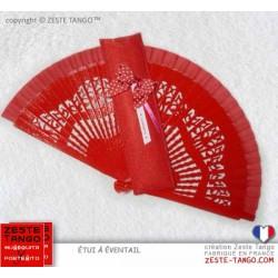 """Pack cadeau St Valentin """"Tanguera chérie"""": éventail et étui rouges"""