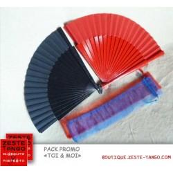 """Pack """"Toi & Moi"""": 2 éventails avec étui. Rouge et Bleu Marinepck-"""