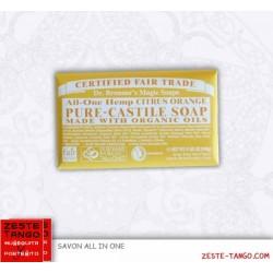 Pack savon bio all-one Dr Bronner, agrumes + mini-serviette