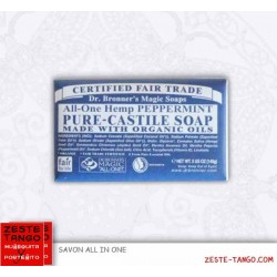 Savon bio all-one Dr Bronner, Menthe + mini-serviette