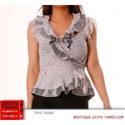 Cache-coeur gris, motif pois, manche courte