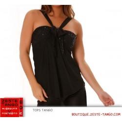 Top tango, bretelles en V . Paillettes