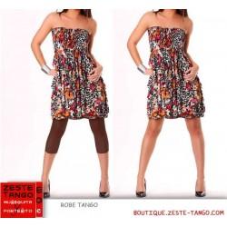 Robe bustier à porter avec ou sans legging. Noir/Rose