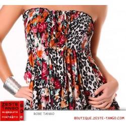 Détail imprimé léopard & fleurs de la robe bustier pour le tango