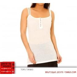 T-shirt tango, bretelles doubles, moulant - Blanc