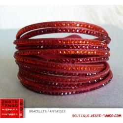 Bracelet strap Rouge. Strass couleur camaïeu rouge