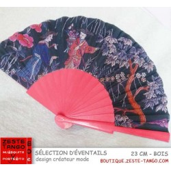 Eventail créateur mode: tissu Décor chinois, branches bois rose fuchia