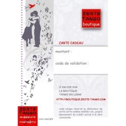 Envoi d'une carte cadeau Zeste Tango personnalisée