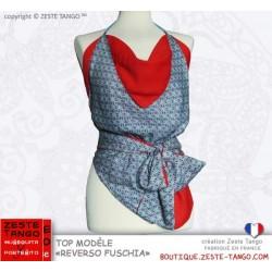 Top tango dos-nu, porté taille marquée avec ceinture nouée ton sur ton.