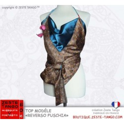 Top dos-nu Marron/bleu canard. Reverso Fushia, création Zeste Tango