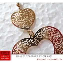 Boucle d'oreille Coeur double en filigrane. Noir ou or