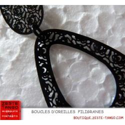 B.O filigrane Noire. Motif petites roses. Forme ovale