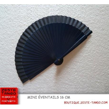 Mini éventail, bois lisse, bleu marine. 16 cm