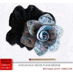 Chouchou - fleur motif vintage camaïeu rose vif