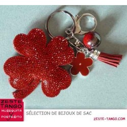 Bijou de sac - Sujet Trèfle strass rouge