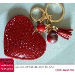 Bijou de sac - Sujet Coeur strass rouge