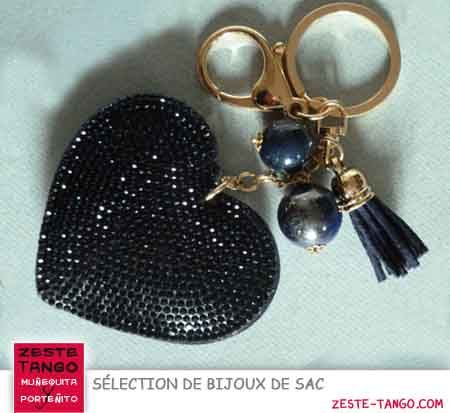 Bijou de sac. Coeur strass bleu Marine, avec porte-clé